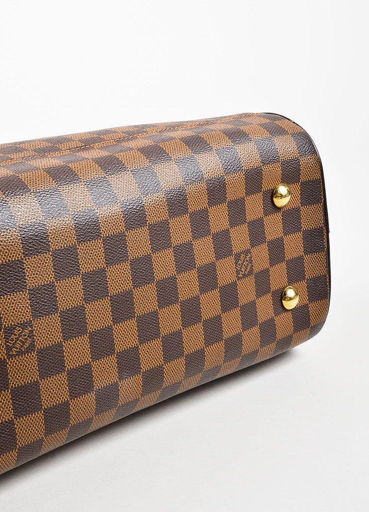 "Louis Vuitton Brown ""Ebene Damier"" Coated Canvas Checkered ""Duomo"" Satchel Bag Bottom View"