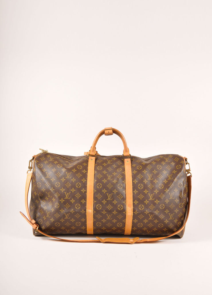 "Louis Vuitton Brown and Tan Coated Canvas and Leather Monogram ""Keepall 60"" Duffel Bag Frontview"