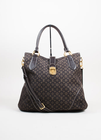 "Dark Brown and Tan Louis Vuitton Canvas Leather Monogram ""Idylle Elegie"" Tote Bag Frontview"