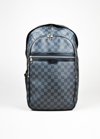 "Men's Louis Vuitton Black and Grey Coated Canvas Damier Graphite ""Michael"" Backpack Frontview"