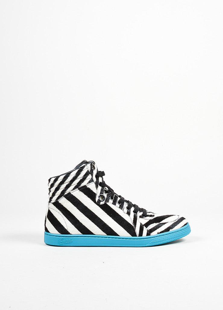"Teal Zebra Stripe Pony Hair Gucci ""Coda"" High Top Sneakers Sideview"