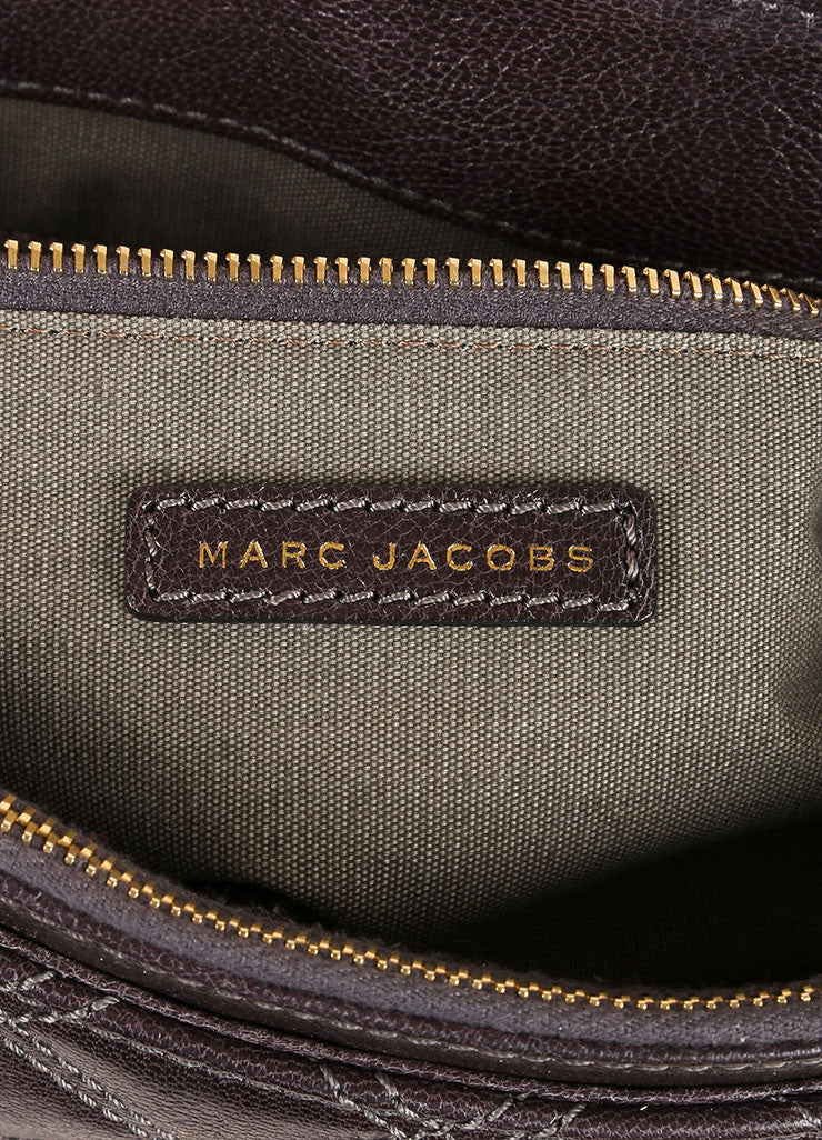 "Marc Jacobs Grey and Gold Toned Quilted Leather Chain Strap ""The XL Single"" Bag Brand"