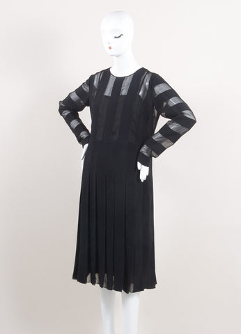 Marc Jacobs New With Tags Black Semi-Sheer Striped and Pleated Crepe Long Sleeve Dress Sideview
