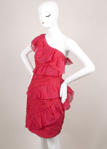 Marchesa Notte Pink Silk Ruffle Ruched One Shoulder Cocktail Dress Sideview