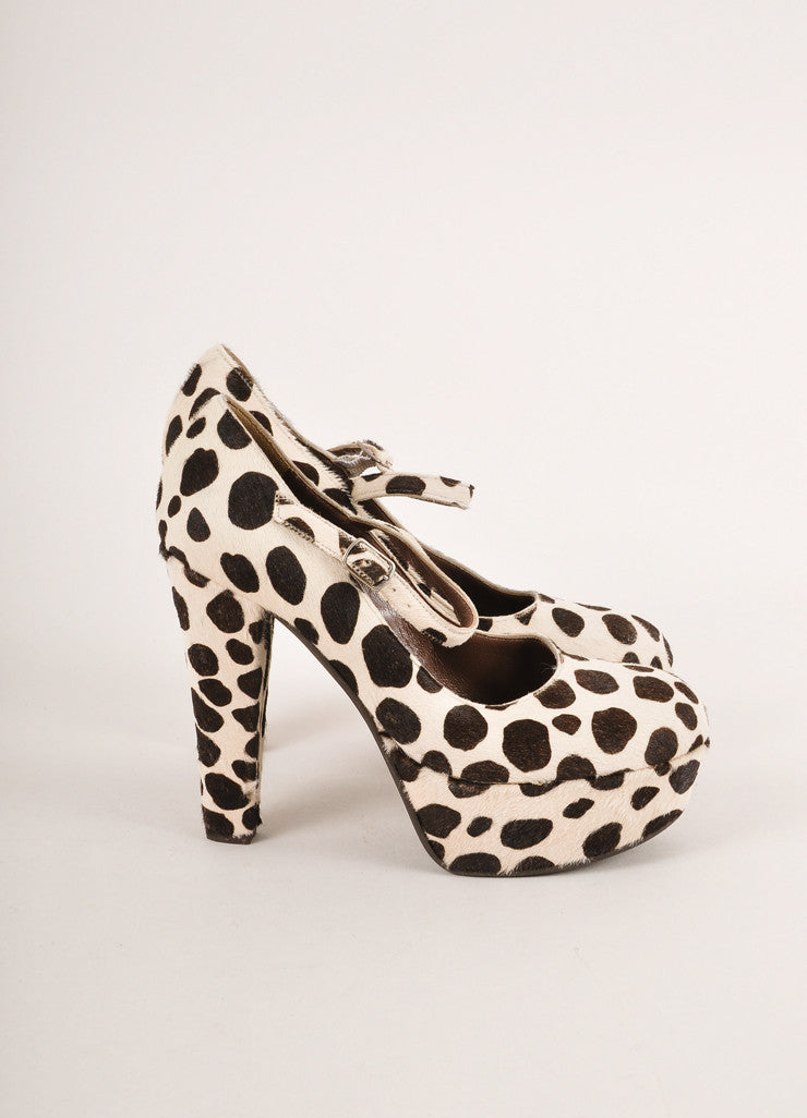 Marni Brown and Cream Spotted Pony Hair Platform Mary Jane Pumps Sideview