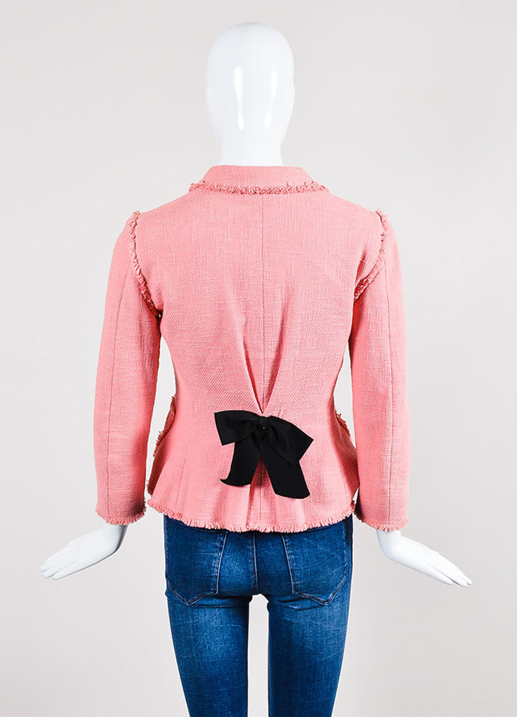 Pink and Black Moschino Cheap and Chic Woven Fringe Bow Jacket Backview