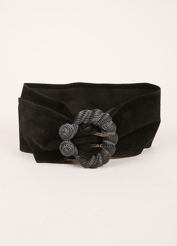 Nina Ricci Black Suede Leather Sash Seashell Buckle Belt Frontview