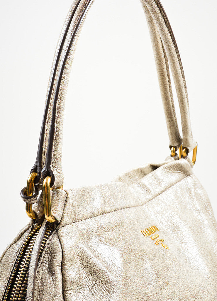 """Craquele"" Gray Prada Distressed Goatskin Leather Hobo Tote Bag Detail 2"