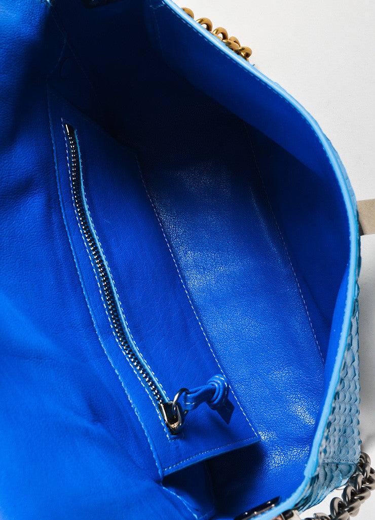 "Proenza Schouler Blue Python Two Tone Chain Shoulder Strap ""Small Courier"" Bag Interior"