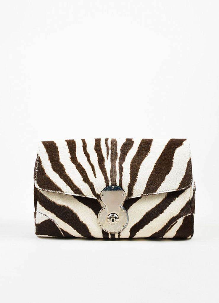 Cream and Brown Ralph Lauren Pony Hair Zebra Print Flap Clutch Bag Frontview