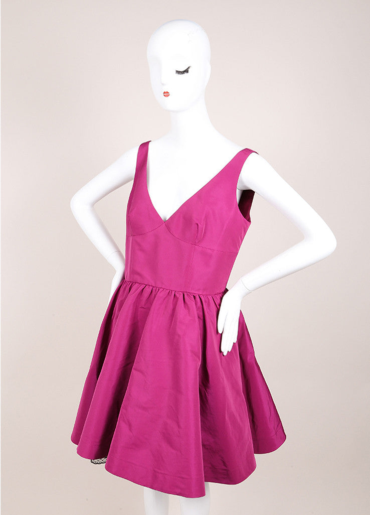 Red Valentino New With Tags Purple and Black Swiss Dot Trim Taffeta Sleeveless Dress Sideview