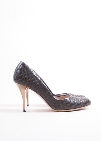 "Salvatore Ferragamo Dark Blue Leather Scalloped Scale ""Ginepro"" Pumps Sideview"