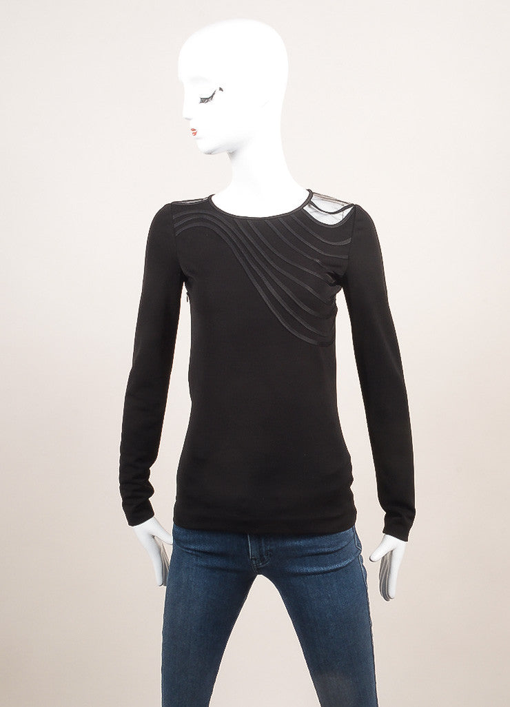 Stella McCartney New With Tags Black Wavy Stripe Long Sleeve Top Frontview