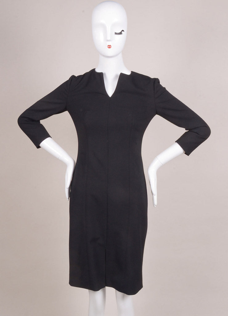 "The Row New With Tags Black Wool Blend Three Quarter Sleeve ""Neroyd"" Sheath Dress Frontview"