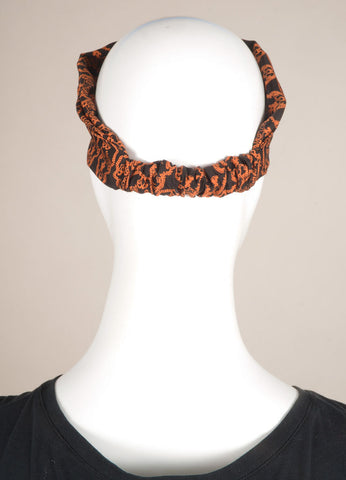 Thomas Wylde Black and Orange Silk Skull Print Headscarf Headband Backview