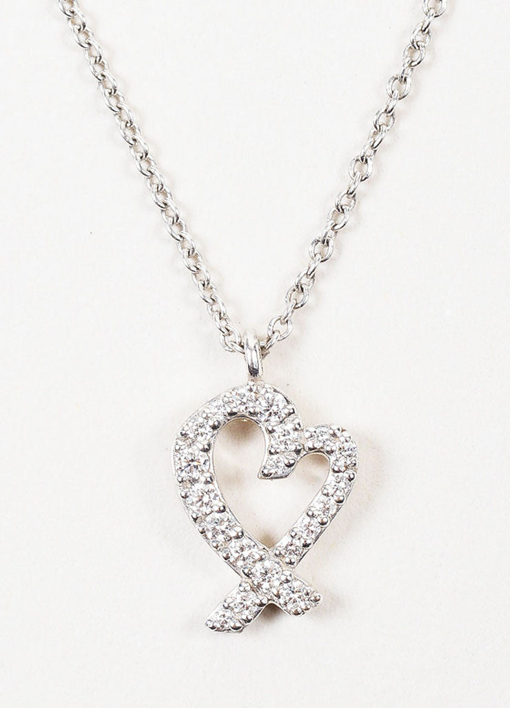 "Tiffany & Co. 18K White Gold Diamond ""Loving Heart"" Necklace Detail"