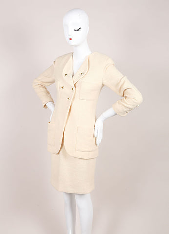 Chanel Cream Wool Tweed 'CC' Button Skirt Suit Sideview