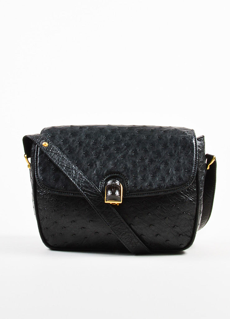 Gucci Black Ostrich Leather Cross Body Satchel Bag Frontview