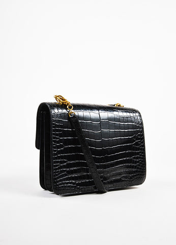 "Hermes Black Crocodile Leather ""Sandrine"" Flap Shoulder Bag Sideview"