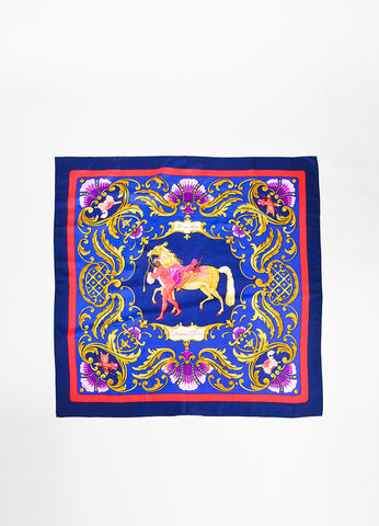 "Vintage Hermes Navy Red Gold Silk Printed ""Cheval Turc"" Square Scarf detail"