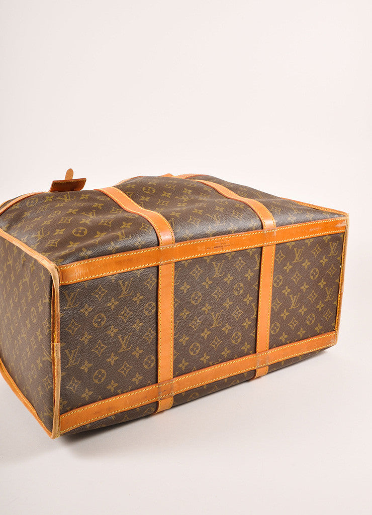 Louis Vuitton Brown Coated Canvas Monogram Hard Case Zip Duffel Bag Bottom View