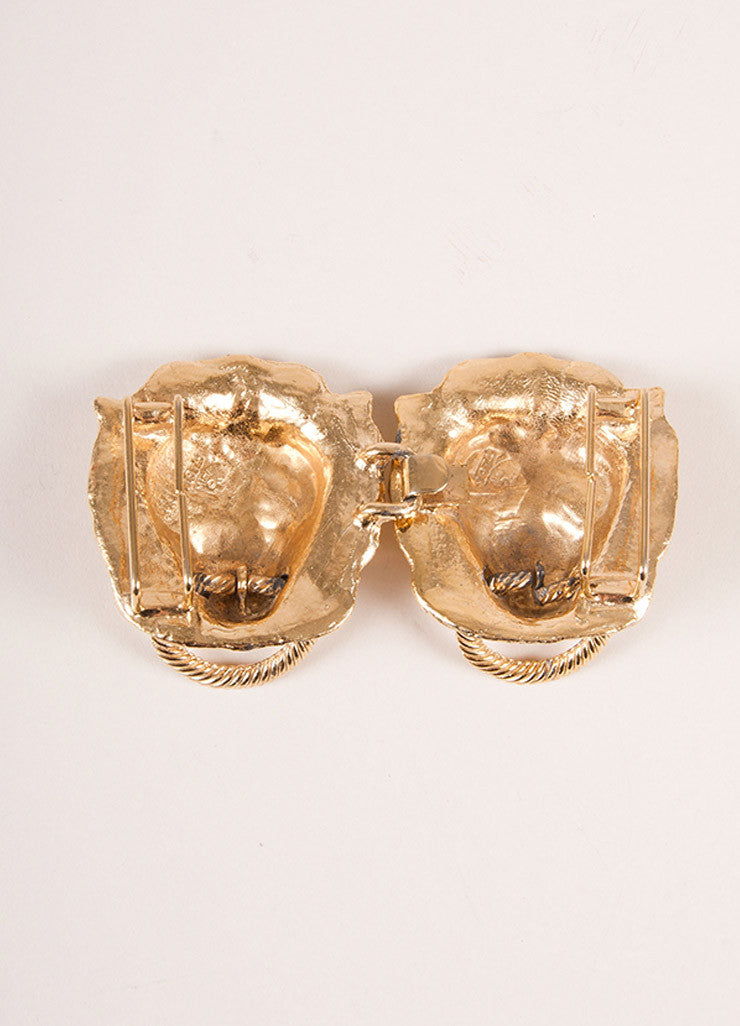 Mimi Gold Toned Lion Head Door Knocker Belt Buckle Backview