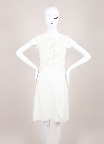 Valentino Cream Cap Sleeve Ruffle and Pintuck Bodice Crepe A-Line Dress Frontview
