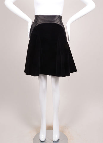 Versace New With Tags Black Velvet Leather Trim Pleated Skirt Frontview