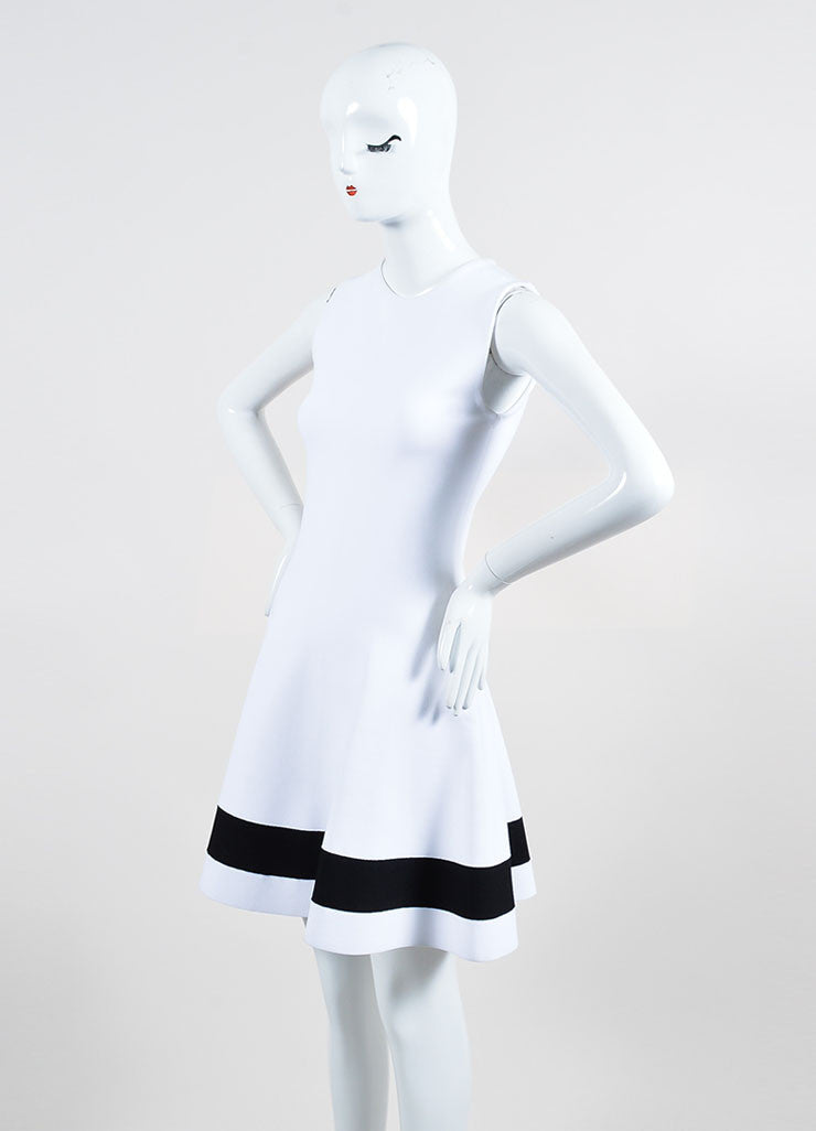 White Victoria Beckham Stretch Knit Sleeveless Dress Side
