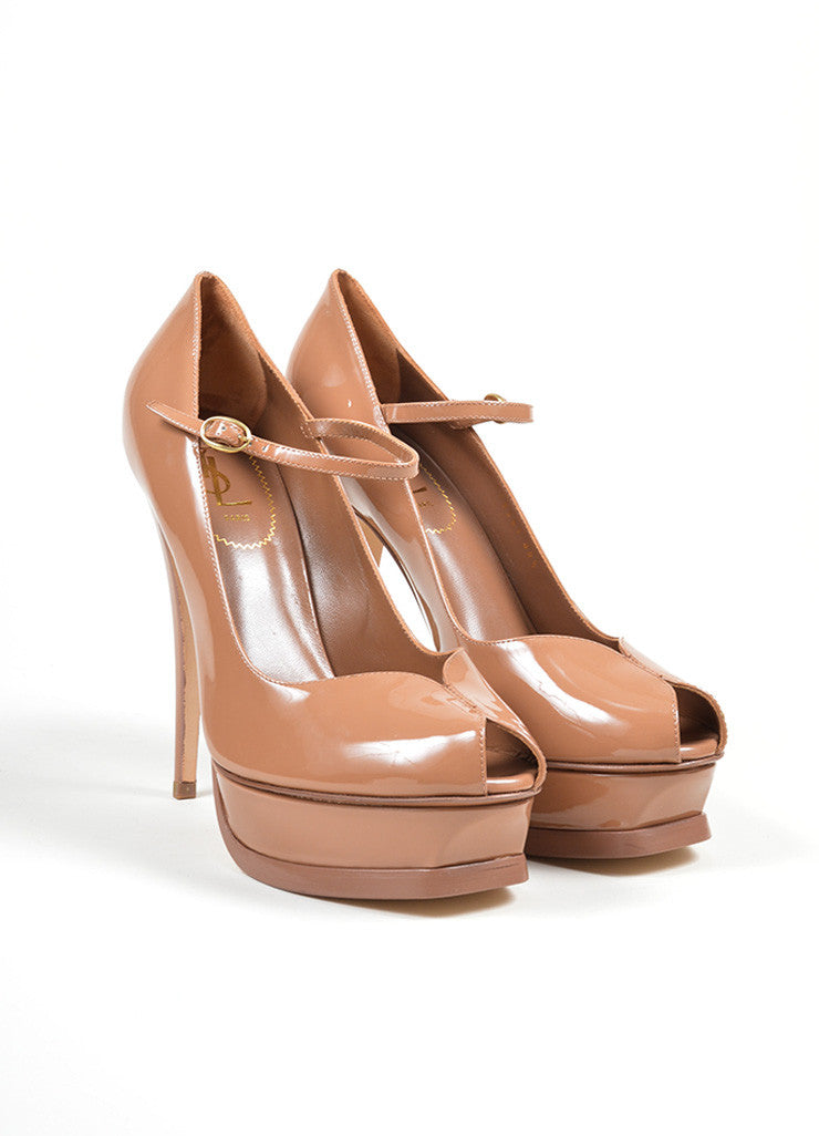 "Brown Yves Saint Laurent ""Tribute"" Mary Jane Plaform Pumps Frontview"