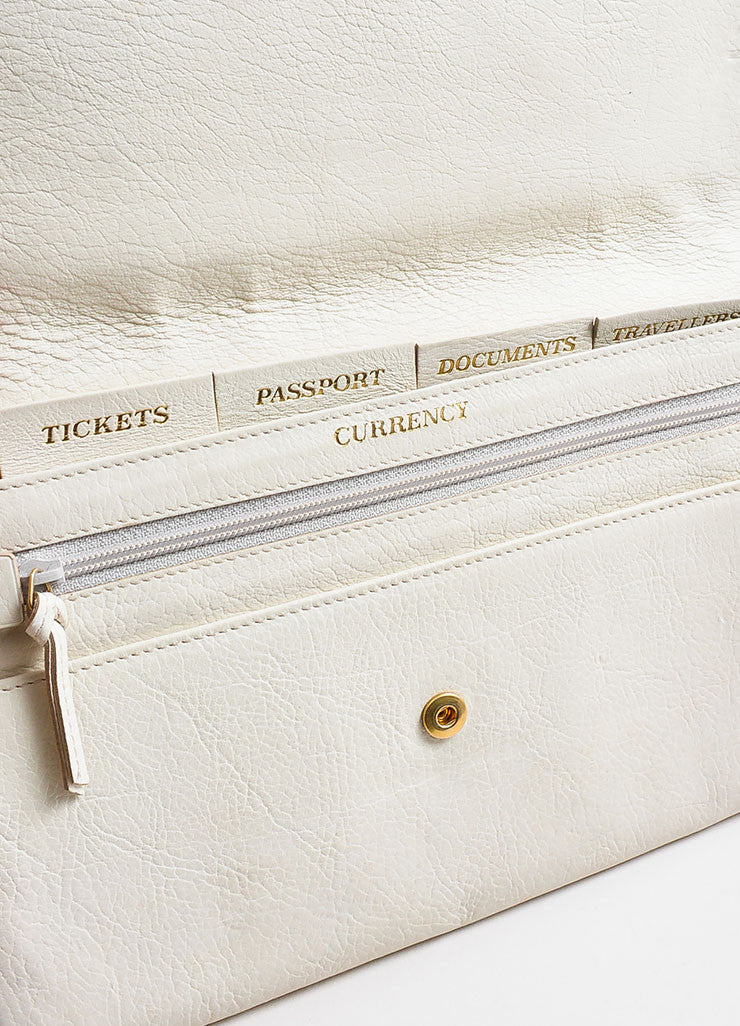 "Yves Saint Laurent Rive Gauche Cream Leather ""Muse Travel Clutch"" Bag Detail 2"