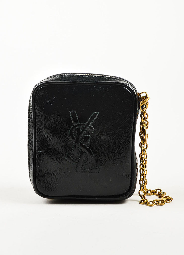 "Yves Saint Laurent Black Patent Leather Zip Around ""Belle de Jour"" Wristlet Frontview"