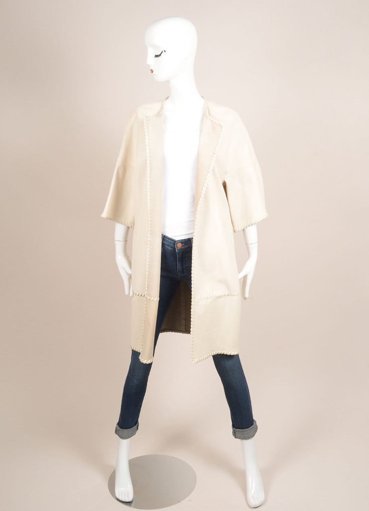 Yves Salomon New With Tags Cream Short Sleeve Open Lace Edged Leather Duster Jacket Frontview