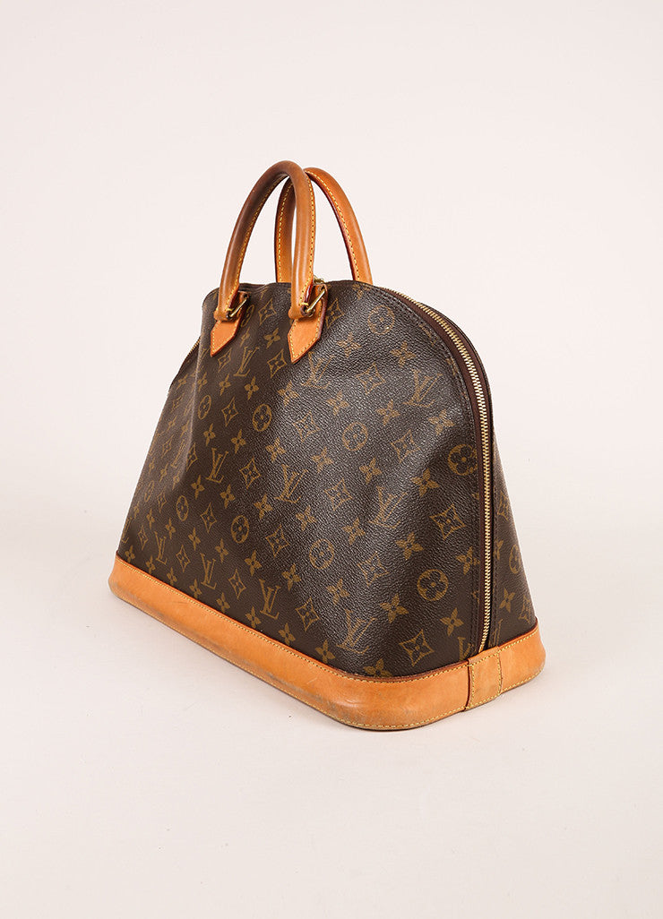 "Louis Vuitton Brown Monogram Canvas and Leather Zip ""Alma GM"" Bag Sideview"