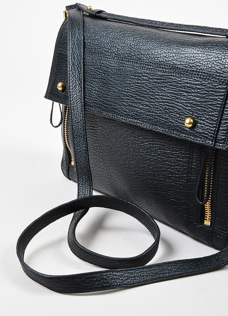 3.1 Phillip Lim Black Textured Leather Pashli Messenger Bag Detail 2
