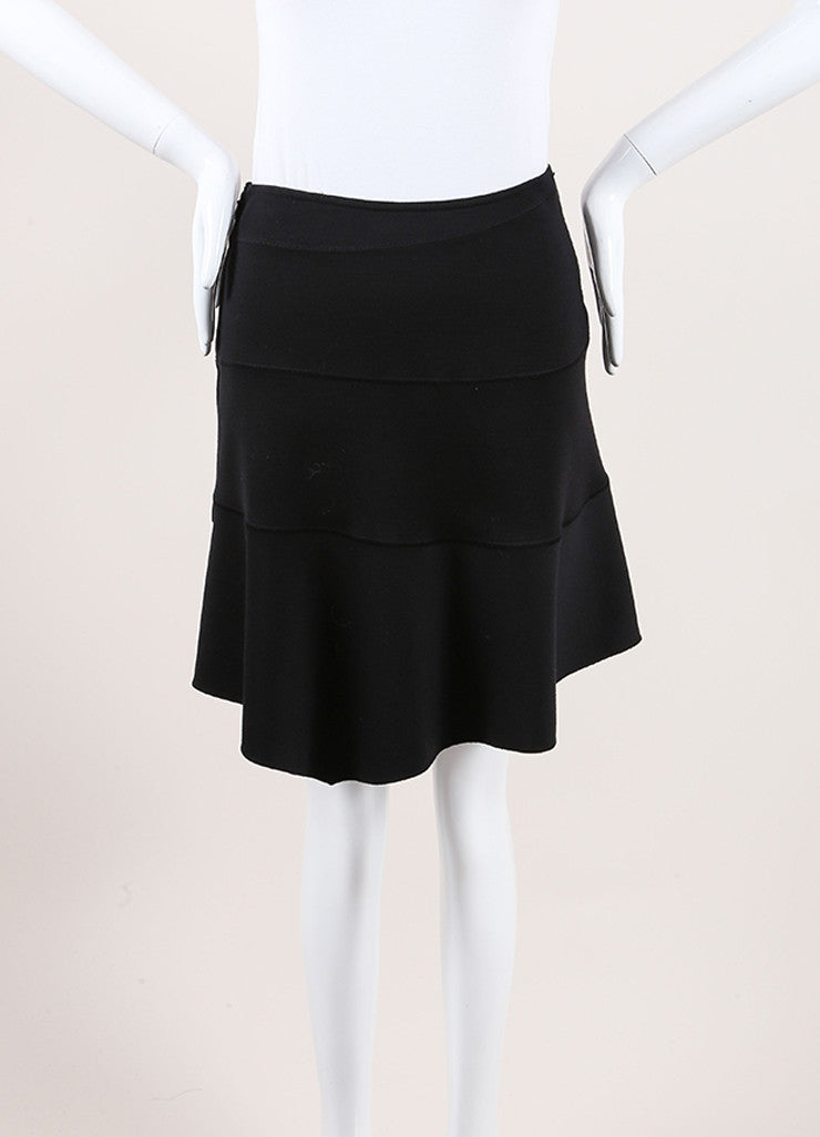 Alaia Black Paneled Wool Knit Asymmetric Hem Wrap Style Skirt Frontview