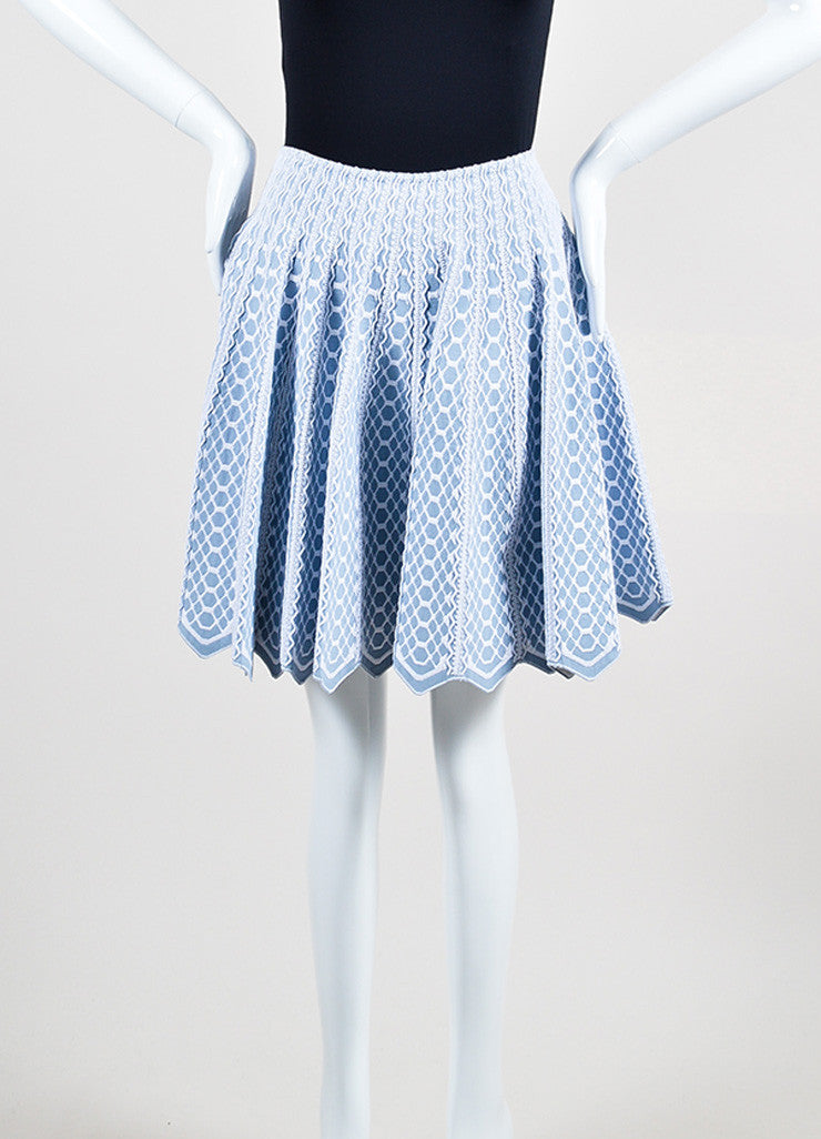 Light Blue and White Alaia Honeycomb Pattern Knit Flared Scalloped Hem Skirt Frontview