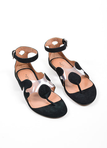 Black Alaia Suede Leather and PVC Illusion Ankle Strap Sandals Frontview