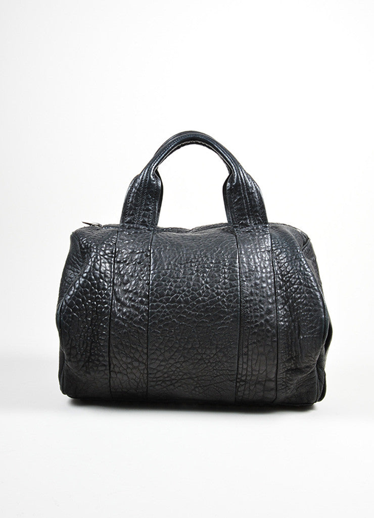 "Black Pebbled Leather Silver Toned Stud Alexander Wang ""Rocky"" Slouchy Handbag Frontview"