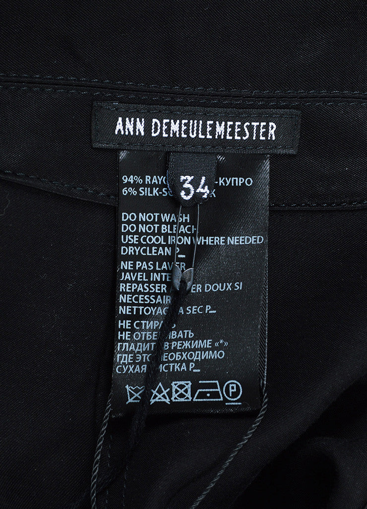 Ann Demeulemeester Black Sateen Cargo Pocket Long Coat Brand