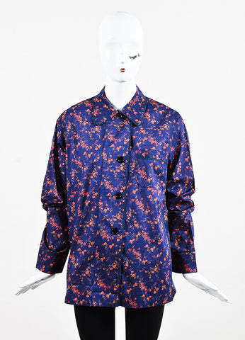 Araks Navy, Red, and Black Silk Trim Floral Print Long Sleeve Pajama Top Frontview