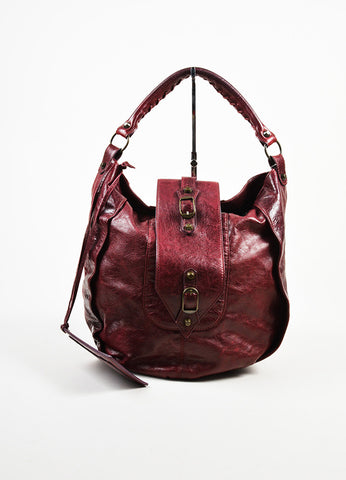 "Balenciaga Burgundy Leather ""Shrug"" Hobo Bag Frontview"