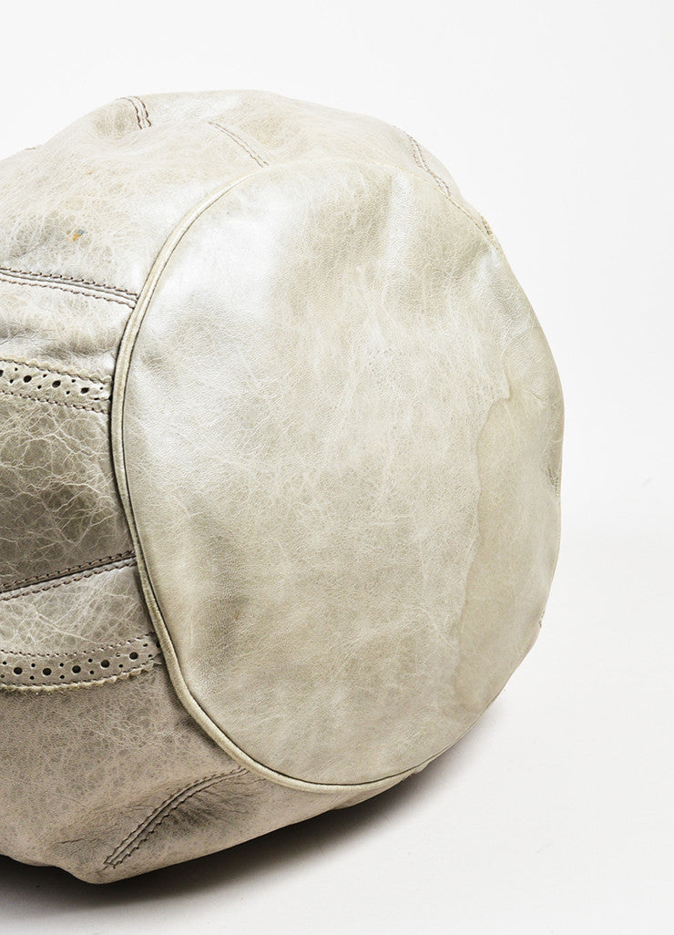 "Balenciaga Grey Taupe Lambskin Leather ""Giant Covered Brogues Pompon"" Handbag Bottom View"