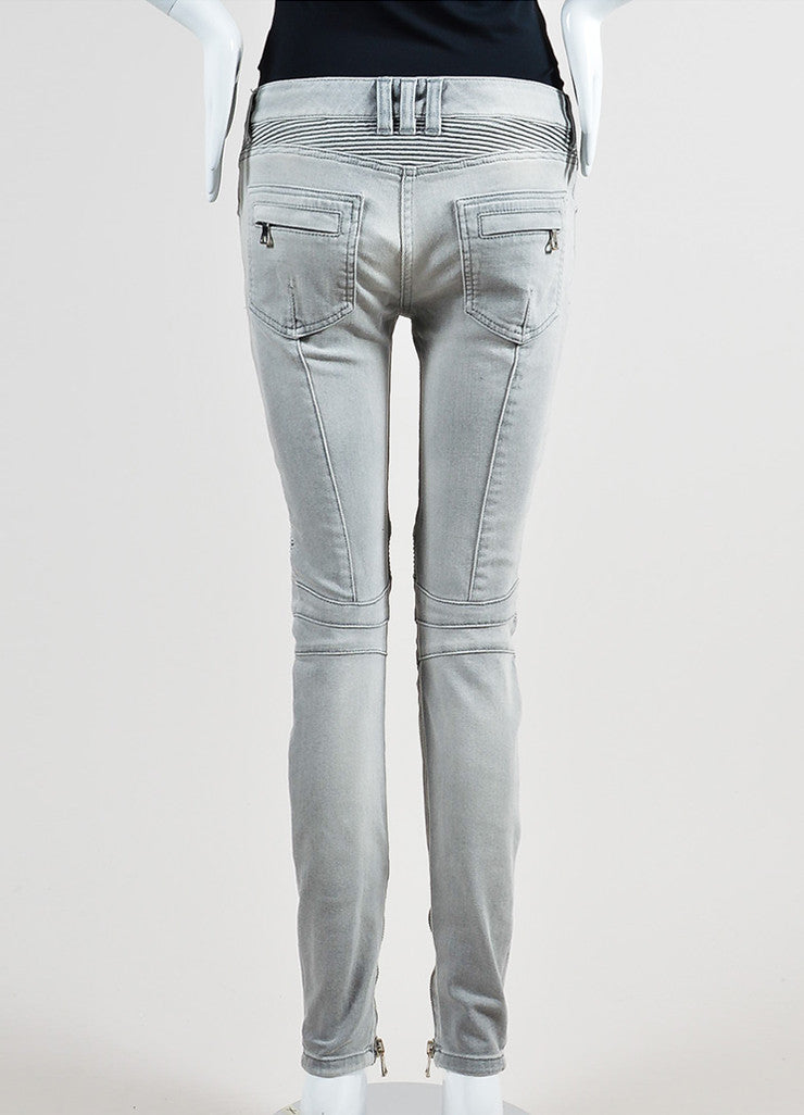 Light Grey Denim Balmain Moto Seamed Skinny Jeans Backview