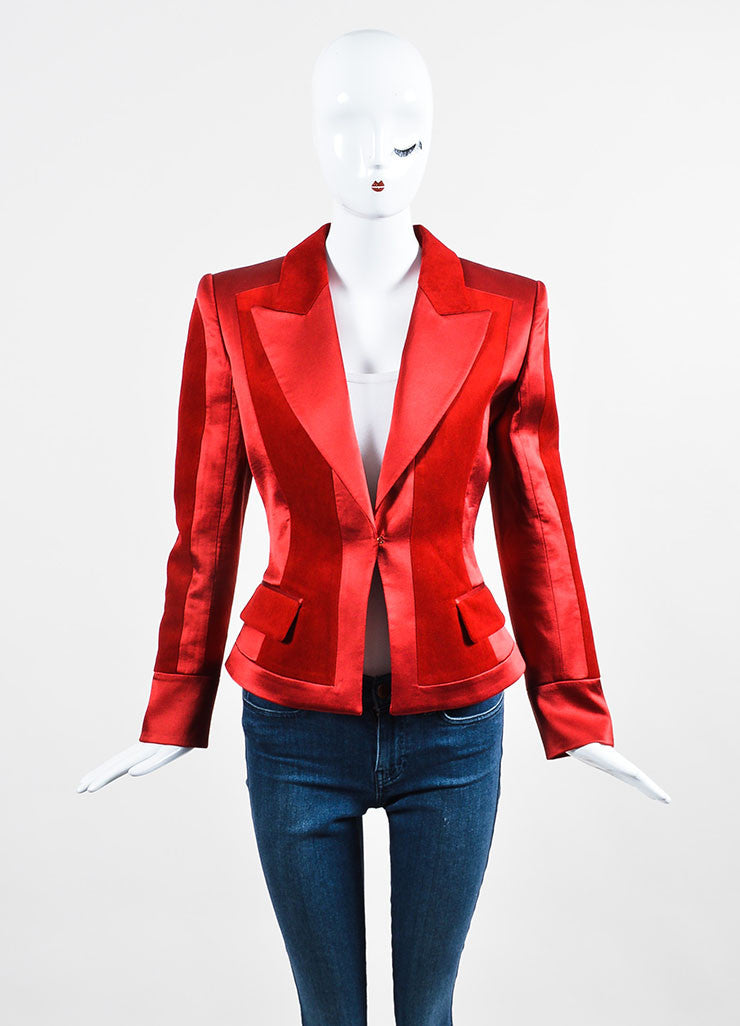 Red Balmain Silk Velvet Panel Long Sleeve Blazer Jacket Front 2