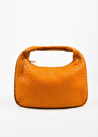 "Bottega Veneta Orange Leather Intrecciato Woven ""Medium Veneta"" Hobo Bag Frontview"