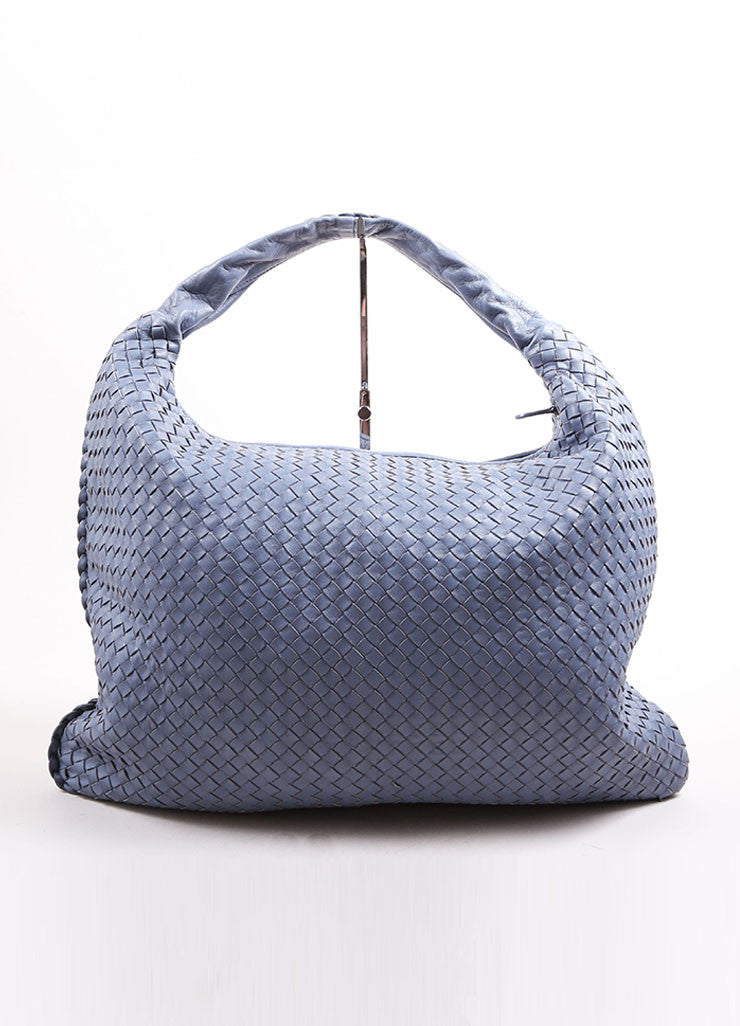 "Bottega Veneta Blue Basketwoven Intrecciato Leather ""Maxi Veneta"" Hobo Bag Frontview"