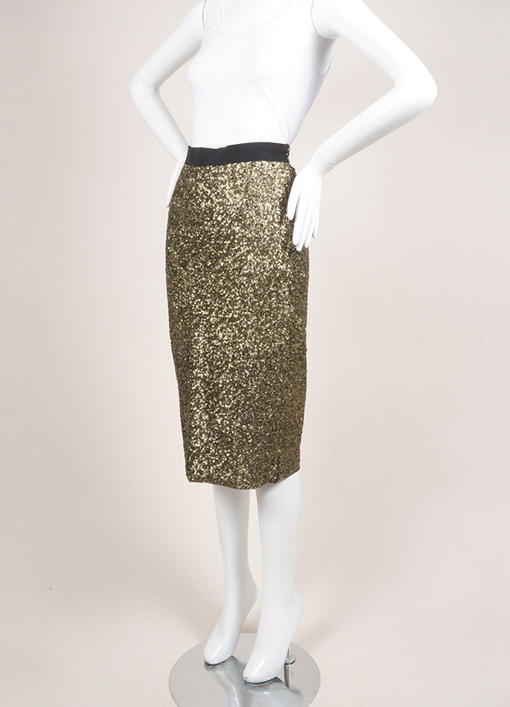 "By Malene Birger New With Tags Gold and Black Sequin Embellished ""Helic"" Skirt Sideview"