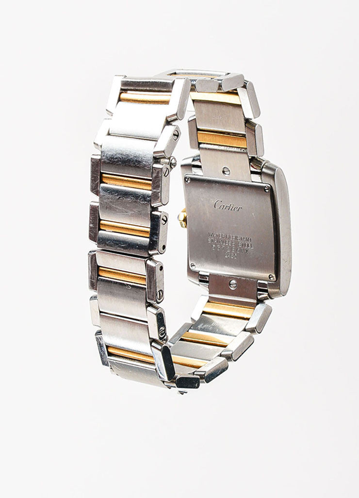 "Cartier Stainless Steel and 18K Yellow Gold ""Tank Francaise"" Bracelet Watch Backview"