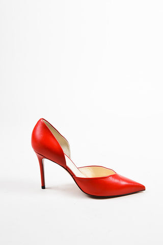 "Celine ""Bright Red"" Leather Pointed Toe 90mm D'Orsay Pumps Sideview"